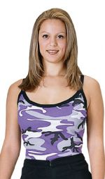 Rothco Женский топ camo ribbed spagetti strap tank ultra violet