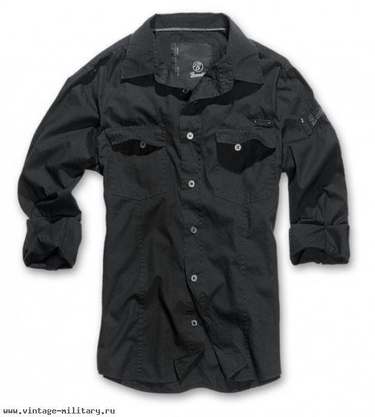 a1948d48f41 Brandit Рубашка мужская черная с длинным рукавом Men shirt slim