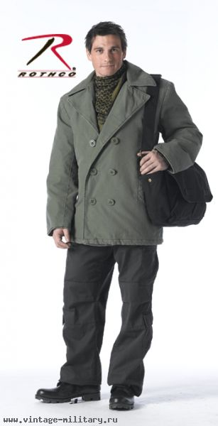Бушлат Vintage Olive Drab Cotton Pea Coat , ROTHCO